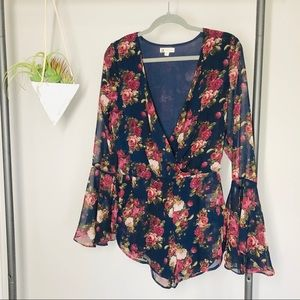Cotton Candy Navy Blue Floral Romper